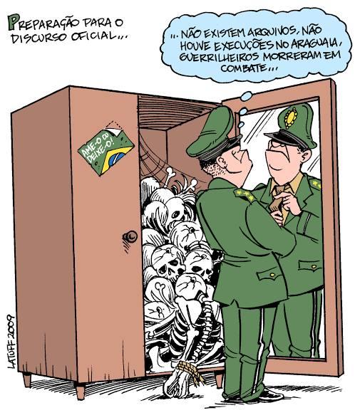 Charge de Carlos Latuff que acompanha a nota no Facebook compartilhado por ele. Mamapress agradece