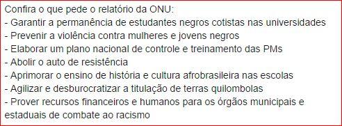 Recomendações da ONU para o Estado Brasileiro
