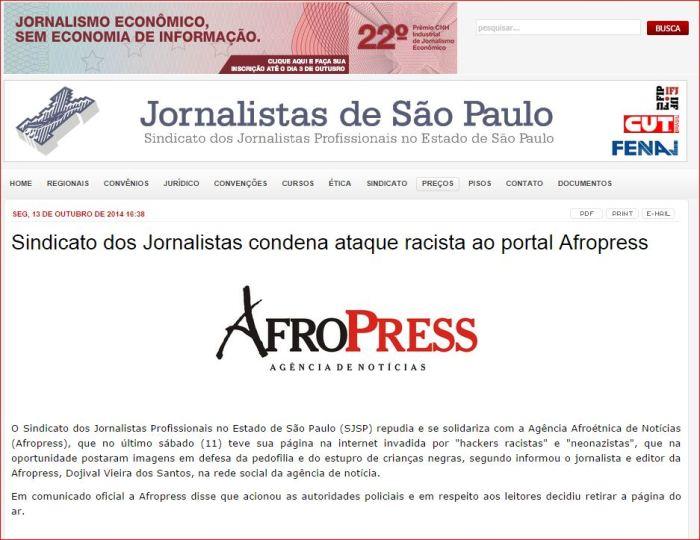 afropress nota sindicato jornalistas