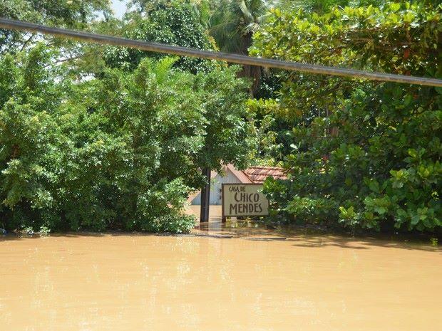 Casa do líder ambientalista Chico Mendes inundada, em Xapuri, Acre (Foto: Aline Nascimento)