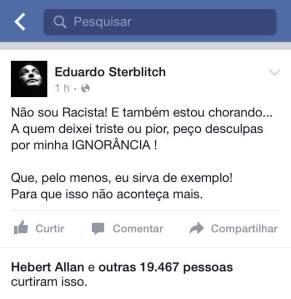 O choro do racista