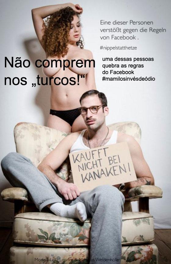 A imagem de Olli Waldhauer que foi censurada no Facebook. com texto traduzido texto traduzido pela Mamapress