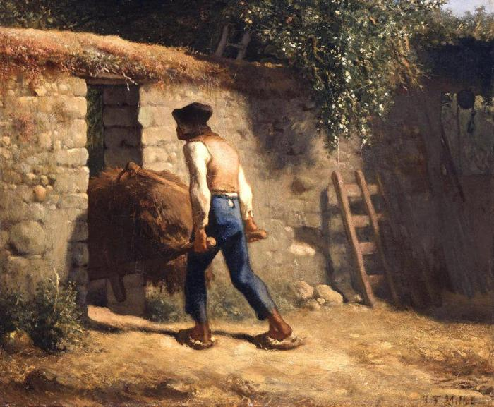 Jean-francois-Millet-Peasant-with-Wheelbarrow