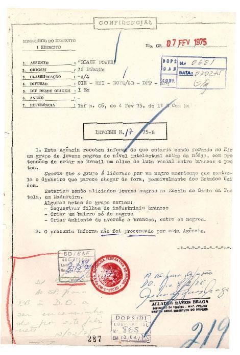 Centro de Informações do Exército (CIE), para o Serviço Nacional de Informações (SNI) e para o DOPS/GB em 1975